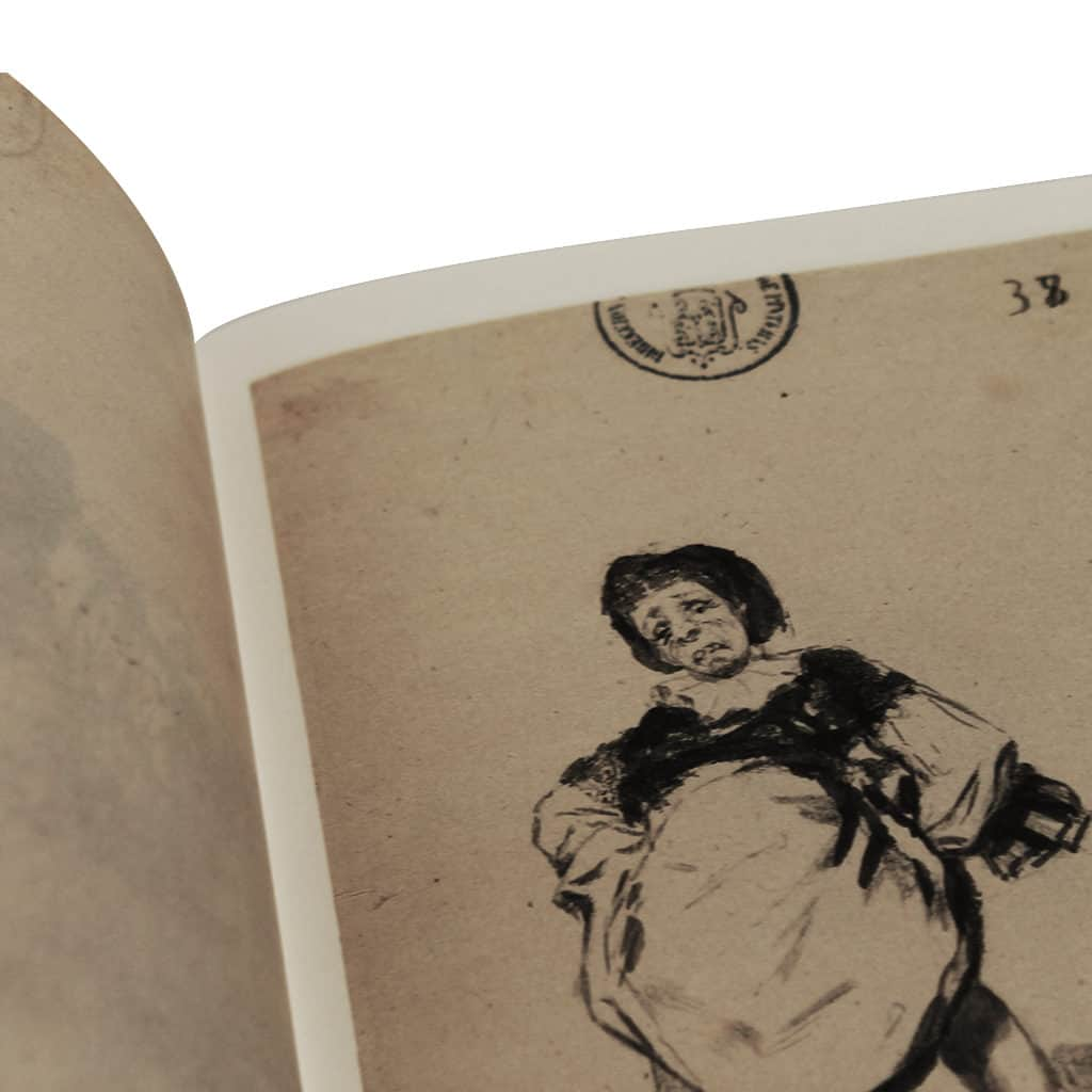 Close up book of drawing from Spanish painter Goya, 2 paper processing, Prado museum