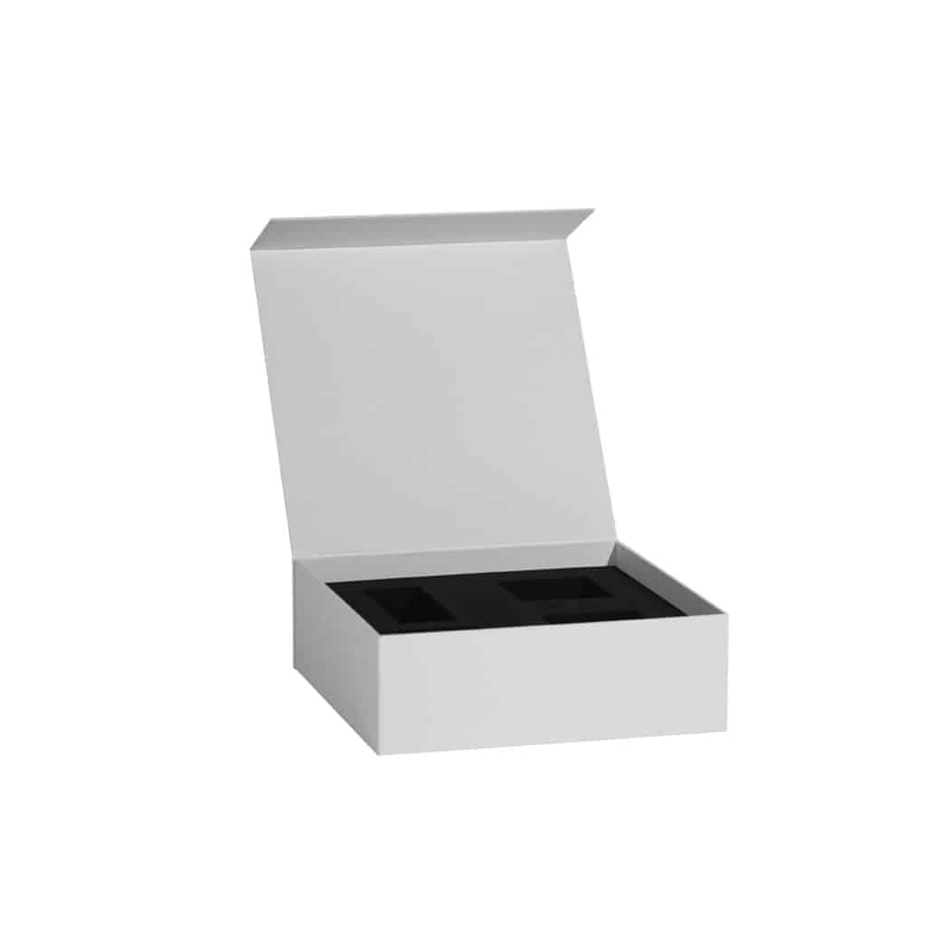 cartoteca box with soft interior and enclosed space for additional products